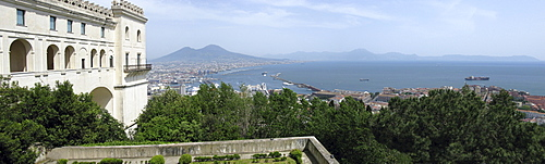 Bay of Naples viewed from the Museo Nazionale di San Martino, Naples, Campania, Italy, Europe