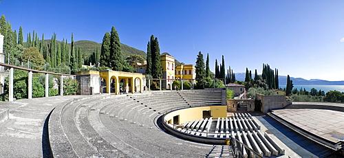 Open air theater on the Vittoriale degli Italiani estate, Italian victory monument, property of the Italian poet Gabriele D'Annunzio, Gardone Riviera, Lake Garda, Italy, Europe