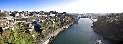 View to the old railway bridge Maria Pia Bridge, by Gustave Eiffel, River Rio Duoro, Porto, UNESCO World Heritage Site, Portugal, Europe