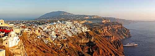 The settlement of Thira is spectacular situated at the calderas edge , Thira, Santorini, Greece