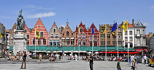 Citizen houses on the Great Market square, Brugge, Flanders, Belgium