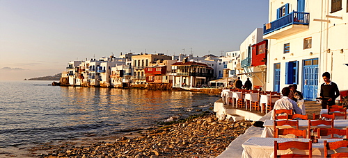 View from a restaurant to Little Venice, Myconos, Greece