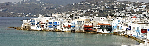 View of the old part of the town called little Venice, Myconos, Greece