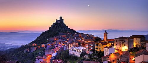 Town of Burgos at dawn, Sardinia, Italy, Europe