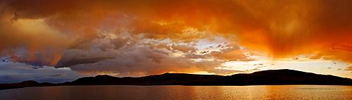 Stormy atmosphere on Lake Dlinoe, Sailughem Mountains, Altai Republic, Siberia, Russia, Asia
