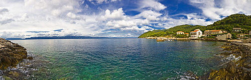 Kozarica Bay and fishing village, Mljet Island, Dubrovnik-Neretva, Dalmatia, Croatia, Europe