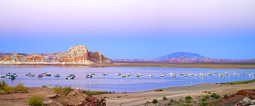 Houseboats at night, view from Wahweap Marina, Lake Powell, Arizona, USA, North America