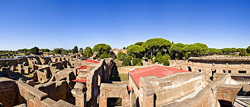 Multi-story houses in front of the museum in Ostia Antica, Rome, Italy, Europe