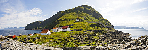 Lighthouse with farm buildings, Runde Island, Norway, Scandinavia, Europe