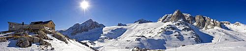Left to right: Simonyhuette (Simony Cabin), Mts. Gjadstein, Dirndln, Hoher Dachstein, Niederer Dachstein and Schoeberl, Dachstein Massif, Styria, Austria, Europe