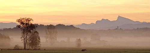 Break of dawn in Haarmoss at the Abtsdorfer Lake, panorama, Chiemgau, Upper Bavaria, Bavaria, Germany
