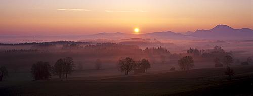 Sunrise at the Hoegl, Bad Reichenhall, Chiemgau, Upper Bavaria, Bavaria, Germany