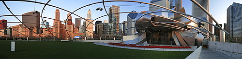 Panorama with Jay Pritzker Pavilion, Cloud Gate and the skyline of the city, Chicago Skyline, Chicago, Illinois, USA