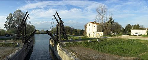 Panoramic view of Pont van Gogh, Arles, Camargue, France, Europe