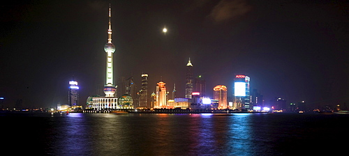 Pudong New Area at full moon, Shanghai, China, Asia
