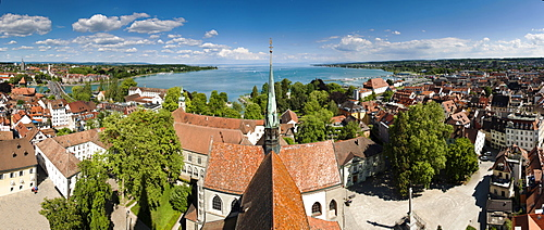 Panoramic view from Konstanz Minster of Our Lady over Lake Constance and the historic town centre, Konstanz, Lake Constance, Baden-Wuerttemberg, Germany, Europe, PublicGround