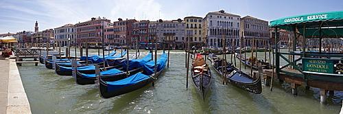 Gondolas on the Grand Canal, panoramic image, Venice, Italy, Europe