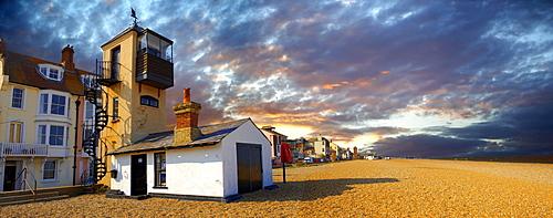 Sea front houses and shingle beach of Aldeburgh, Suffolk, England, United Kingdom, Europe