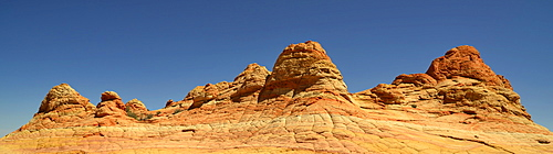 Panoramic view, Brain Rocks of the Coyote Buttes South CBS, Cottonwood Teepees, eroded Navajo sandstone rock formations with Liesegang bands or Liesegang rings, Pareah Paria Plateau, Vermilion Cliffs National Monument, Arizona, Utah, Southwestern USA