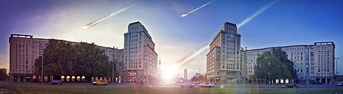 Doomsday, meteorites above the centre of Berlin, Stalin buildings, socialist housing on Strausbergerplatz square, looking towards Alexanderplatz square, Friedrichshain, Berlin, Berlin, Germany, Europe