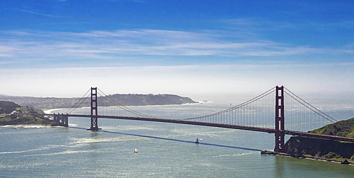Aerial view, Golden Gate Bridge with blue sky, seen from the Bay Area, San Francisco, California, USA, North America