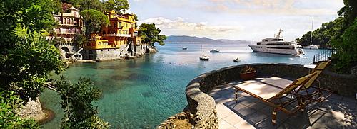 Yacht moored at the Ligurian Coast, Portofino, Liguria, Italy, Europe