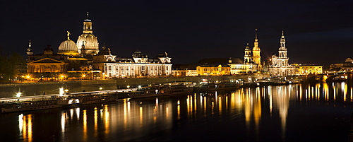 Historic district of Dresden with the Elbe river in the foreground at twilight, Dresden, Saxony, Germany, Europe