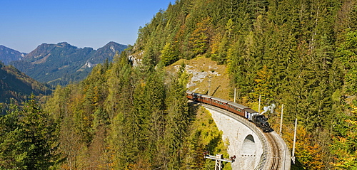 Steam train, Mariazell Railway over the Saugraben viaduct, Annaberg, Mostviertel, Lower Austria, Austria, Europe