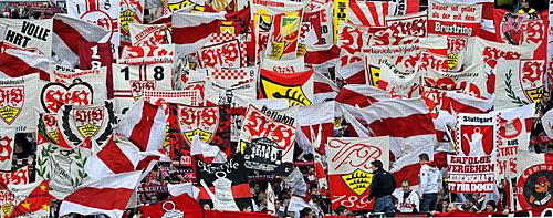Fan curve VfB Stuttgart, Mercedes-Benz Arena, Stuttgart, Baden-Wuerttemberg, Germany, Europe