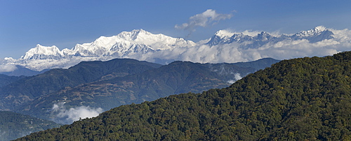 View from West Bengal, India towards Mount Kangchenjunga on the border between Sikkim and Nepal, Asia