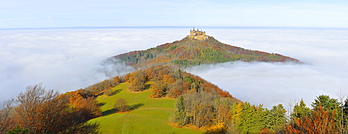 Burg Hohenzollern castle in autumn, Zollernalb district, Swabian Alps, Baden-Wuerttemberg, Germany, Europe