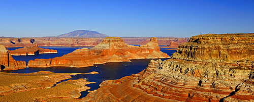Panoramic view from Alstrom Point of Lake Powell with Gunsight Butte and Navajo Mountain, houseboats, Bigwater, Glen Canyon National Recreation Area, Arizona, Utah, United States of America, USA