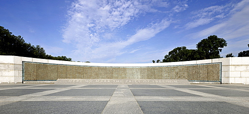 """Memorial Wall """"The Price of Freedom"""" with 4048 stars in honour of U.S. soldiers, National World War II Memorial, WWII Memorial or Second World War Memorial, Washington DC, District of Columbia, United States of America, PublicGround"""