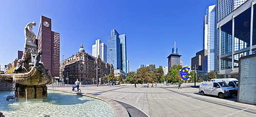 Panoramic view, Maerchenbrunnen fountain of 1910 on the left, Commerzbank tower, Japan Center and the European Central Bank at the back, ECB, euro sign, Frankfurt am Main, Hesse, Germany, Europe, PublicGround
