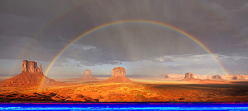 Double rainbow during a rain shower after a thunderstorm in the evening light, mesas, West Mitten Butte, East Mitten Butte, Merrick Butte, Elephant Butte, Camel Butte, Raingod Mesa, Monument Valley, Navajo Tribal Park, Navajo Nation Reservation, Arizona,
