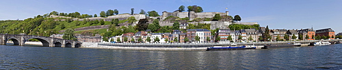 Citadel and row houses on the river Meuse, Namur, Wallonia or Walloon Region, Belgium, Europe