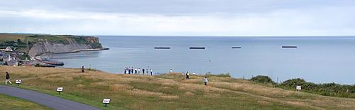 Arromanches-les-Bains, D-Day, Gold Beach, remnants of the artificial landing harbour, Mulberry Harbour, Normandy, France, Europe
