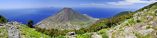 Volcano on Salina island, in the back Filicudi and Alicudi islands, Aeolian Islands, Sicily, southern Italy, Italy, Europe
