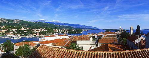 View over the rooftops of Rab city, Rab island, Kvarner Gulf, Croatia, Europe