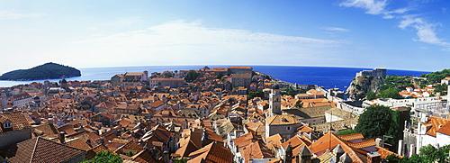 Cityscape, historic district of Dubrovnik with Lokrum island, Dalmatia, Croatia, Europe