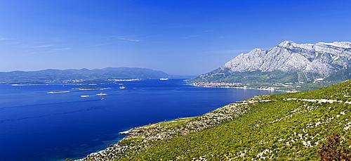Coastal panorama with the Island of Korcula, Orebic, Peljesac Peninsula, Dalmatia, Croatia, Europe