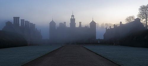 Blickling Hall on a misty morning at Blicking, Norfolk, England, United Kingdom, Europe