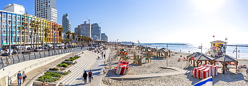 View of colourful buildings and promenade on Hayarkon Street, Tel Aviv, Israel, Middle East