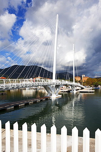 Storm clouds over City Bridge at the waterfront in La Spezia, Liguria, Italy, Mediterranean, Europe