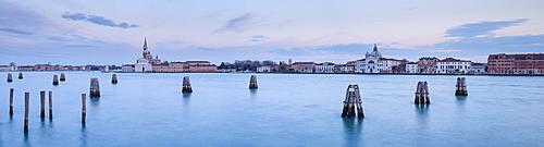 View from Zattere towards the Monastero di San Giorgio Maggiore at dusk, Venice, UNESCO World Heritage Site, Veneto, Italy, Europe