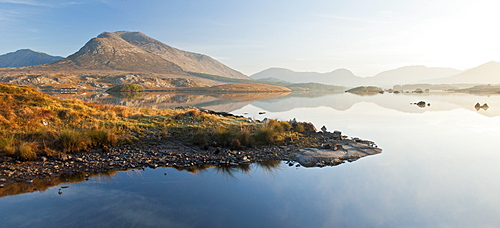 Derryclare Lough at dawn, Connemara, County Galway, Connacht, Republic of Ireland, Europe