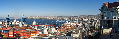 View of city and ports from Paseo 21 de Mayo, Cerro Playa Ancha, Valparaiso, Central Coast, Chile, South America