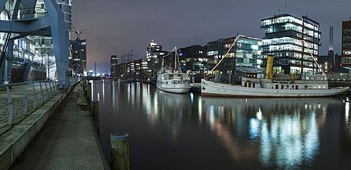 Twilight at Magellan-Terrace in Hafencity, Hamburg, Germany, Europe