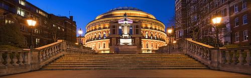 Exterior of the Royal Albert Hall at night, Kensington, London, England, United Kingdom, Europe