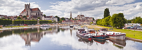 The cathedral and town of Auxerre on the River Yonne, Burgundy, France, Europe